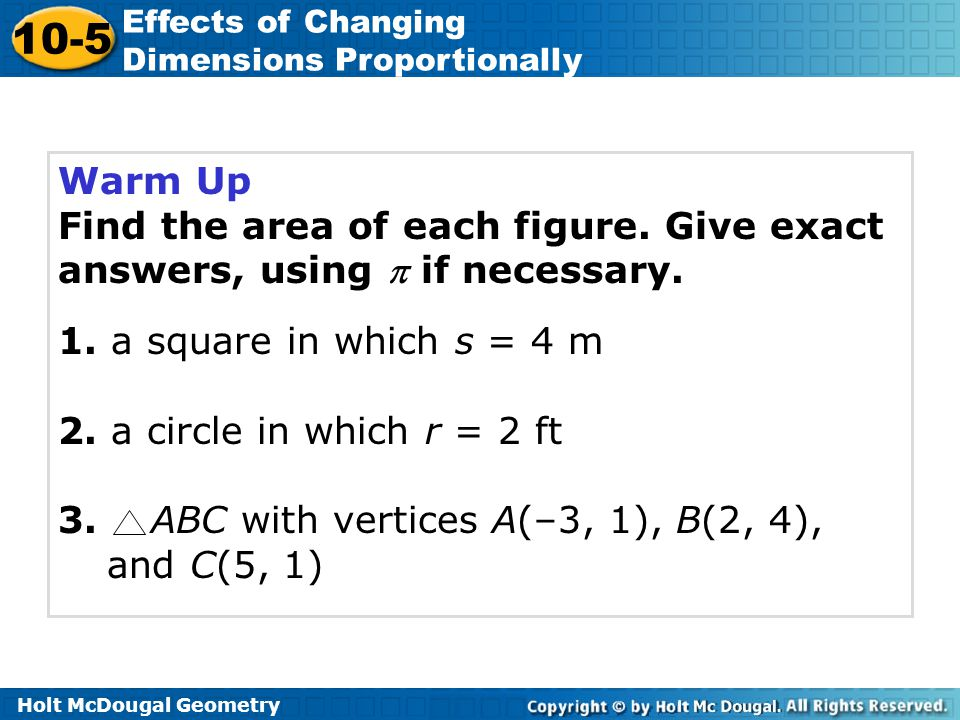 105 Effects of Changing Dimensions Proportionally ppt download – Holt Mcdougal Geometry Worksheet Answers