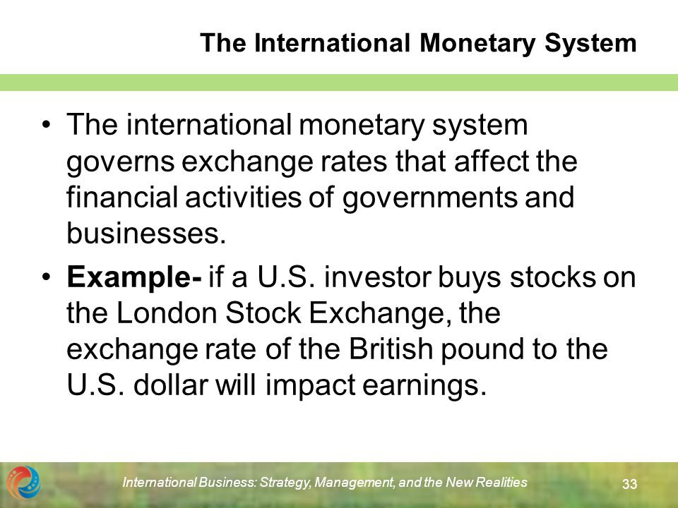 relationship of international finance and monetary system