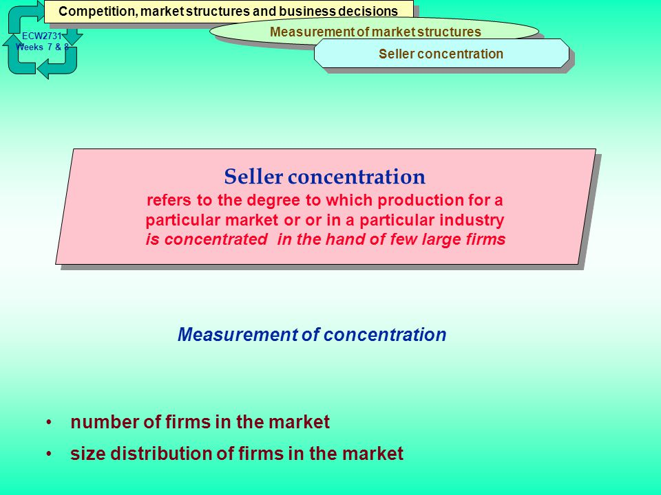 seller concentration Seller concentration can be looked at as the number of producers in a particular sector of the economy and their comparative share of that market .