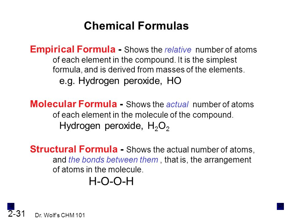 The components of matter ppt download chemical formulas empirical formula shows the relative number of atoms of each element in urtaz Gallery