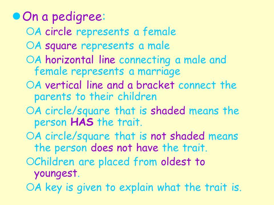 On a pedigree: A circle represents a female A square represents a male