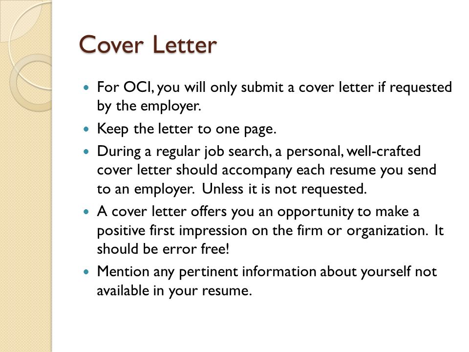 Cover letter one page only