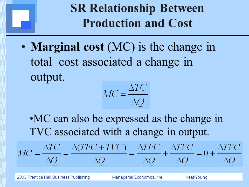 relationship between productivity and the cost Equals the difference between total revenue and total costs as you will learn below, production affects costs hence, the first part of this chapter discusses production in the short-run while in the  the relationship between output (q) and inputs (l, k, n, e):  marginal productivity b the marginal product of labor.