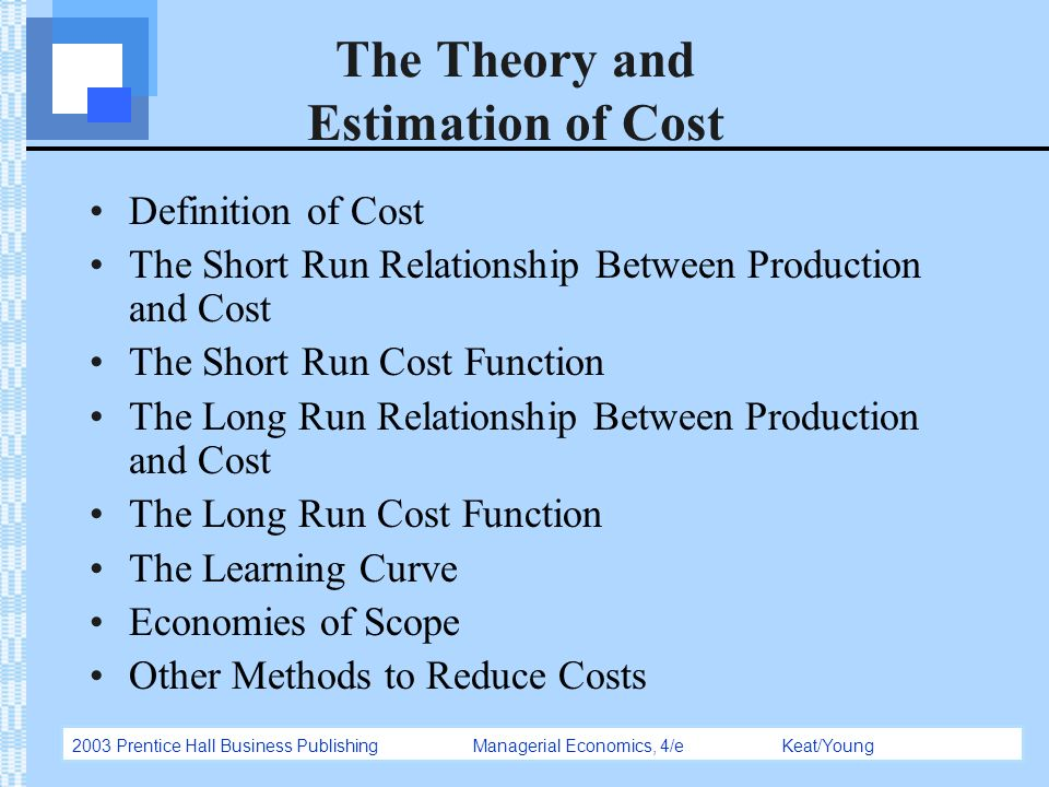relationship between production and cost in the short run