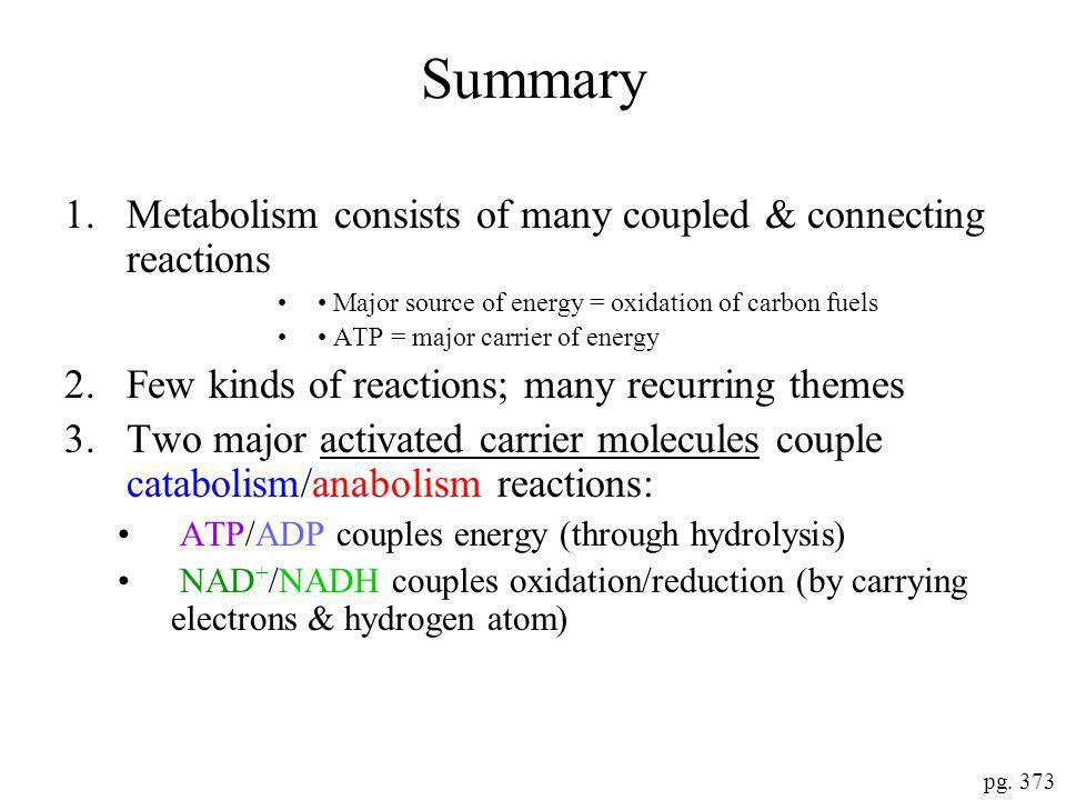 Summary Metabolism consists of many coupled & connecting reactions