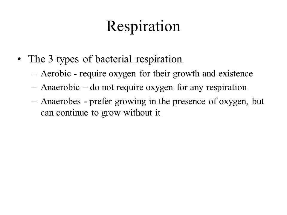 Respiration The 3 types of bacterial respiration