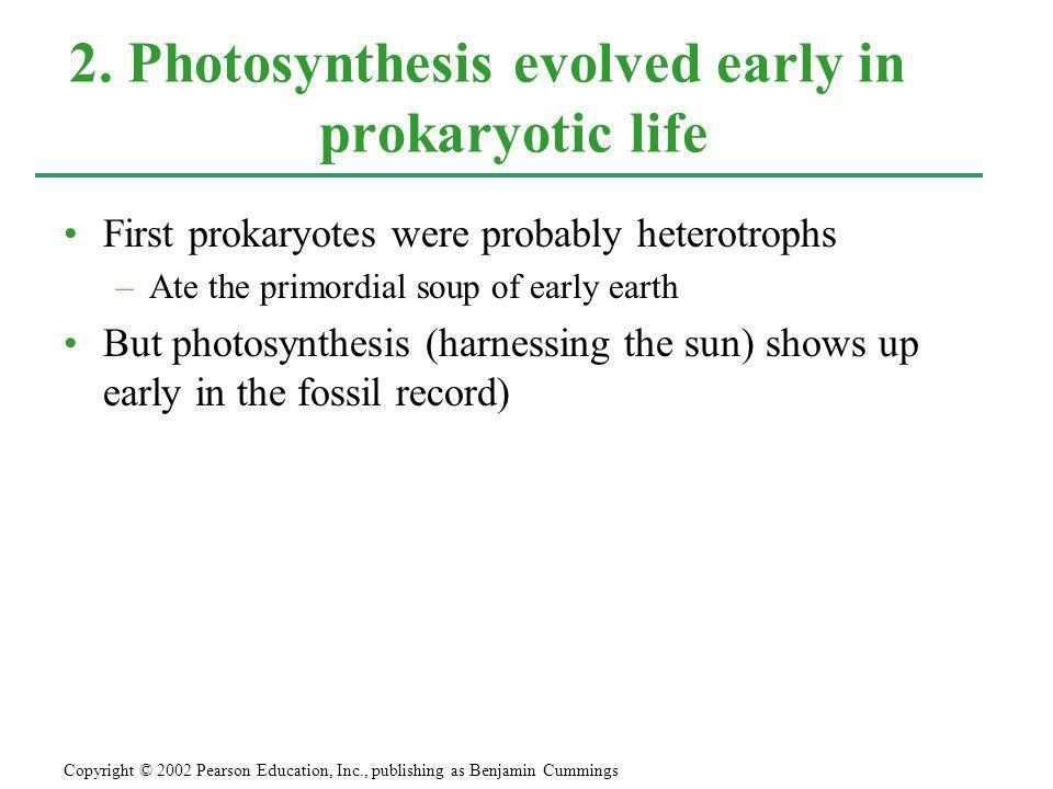 2. Photosynthesis evolved early in prokaryotic life
