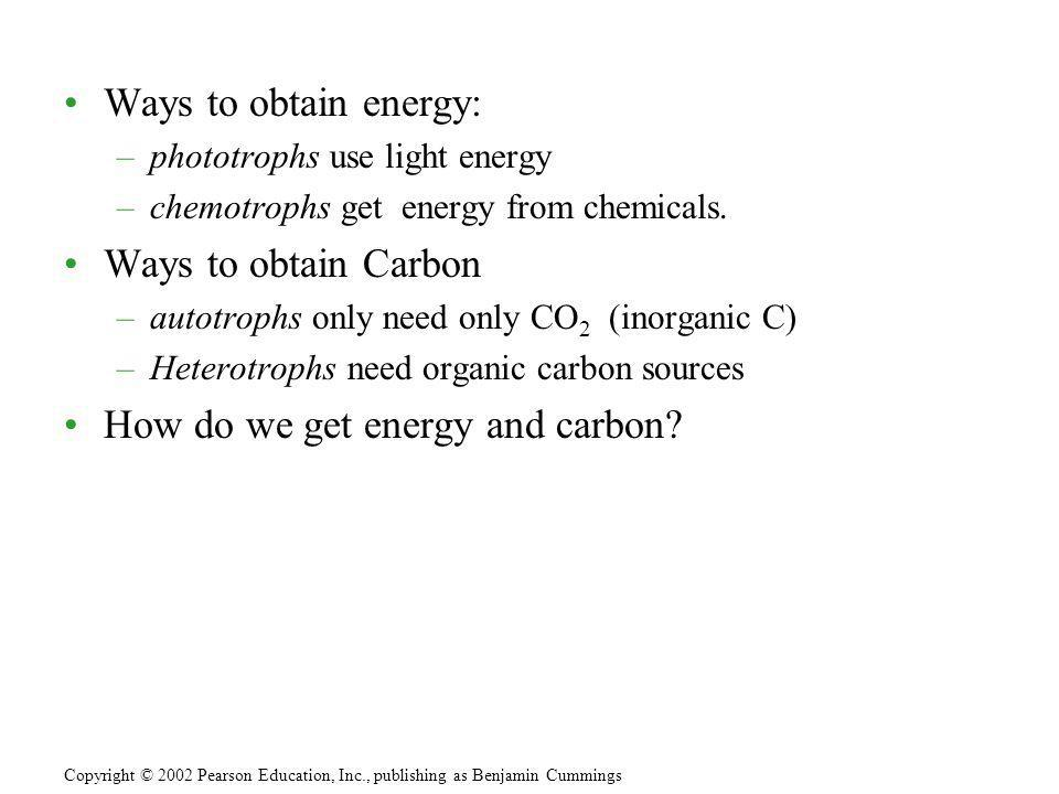 How do we get energy and carbon