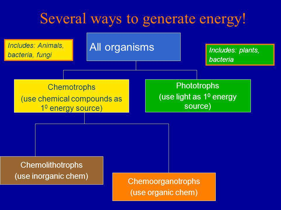 Several ways to generate energy!