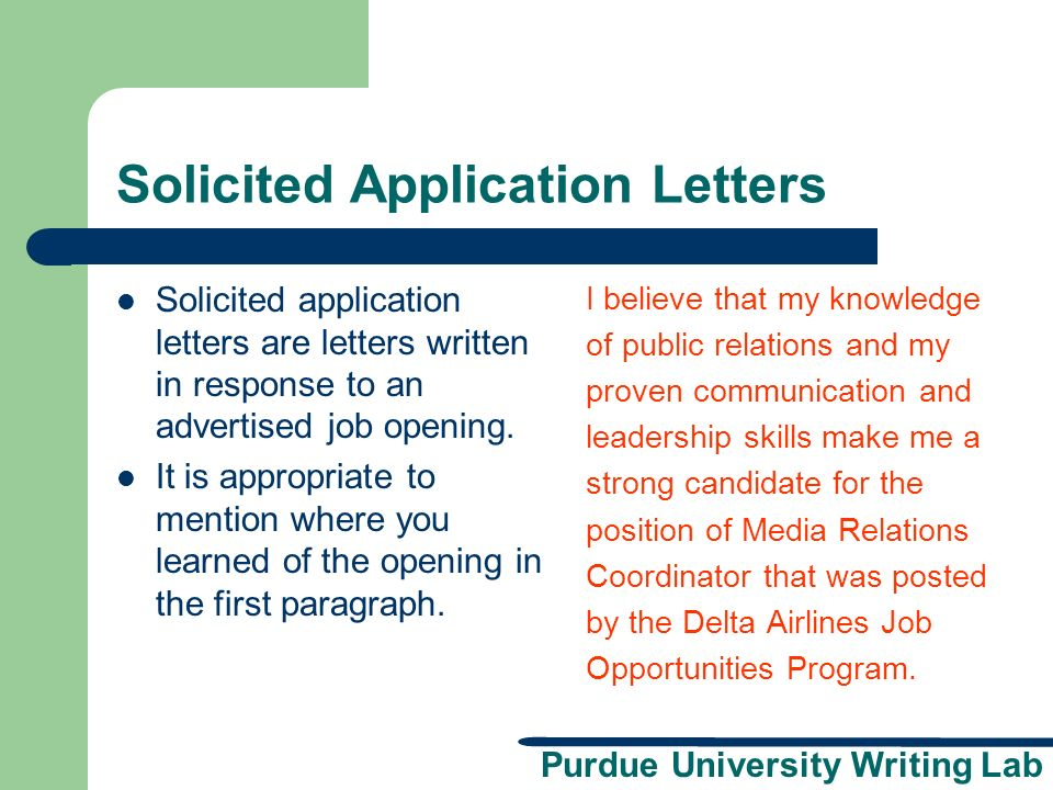 Solicited Application Letters