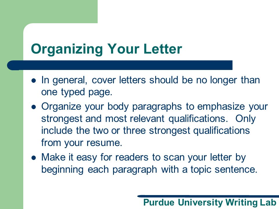 Organizing Your Letter