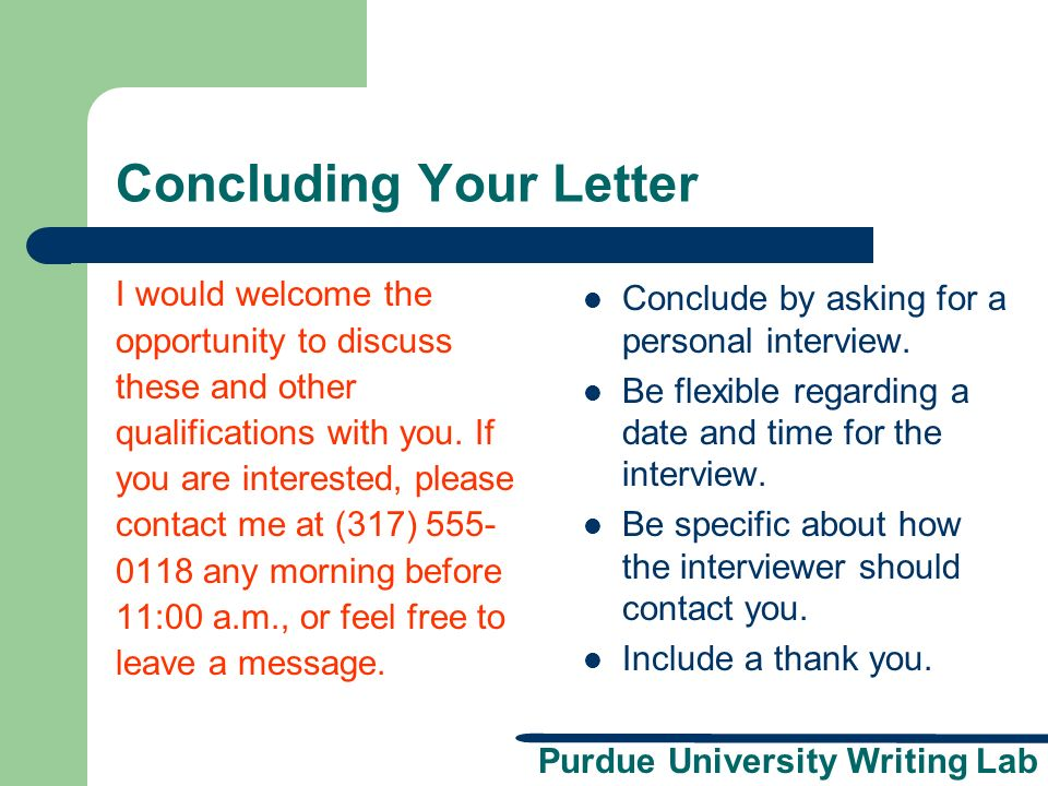 Concluding Your Letter