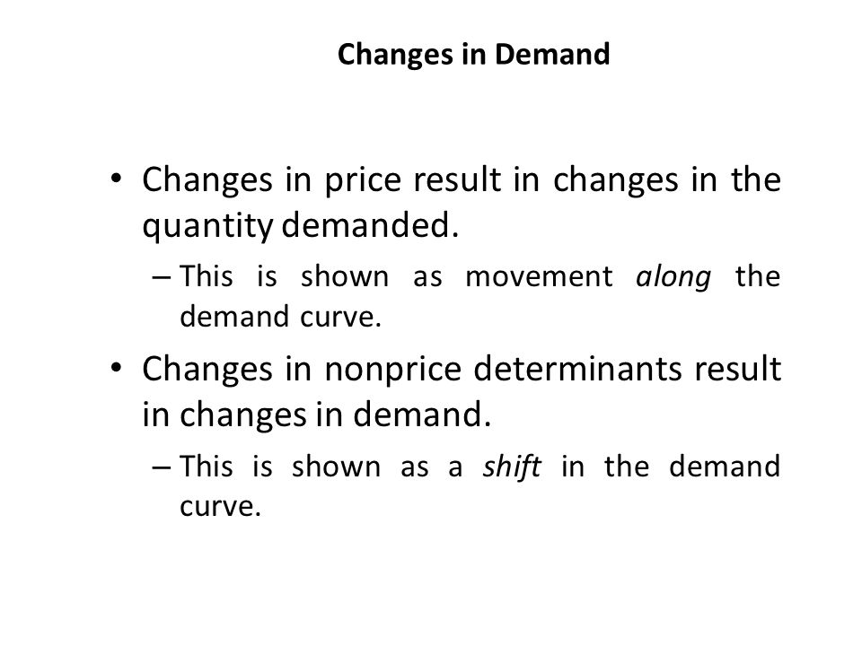 Changes in price result in changes in the quantity demanded.