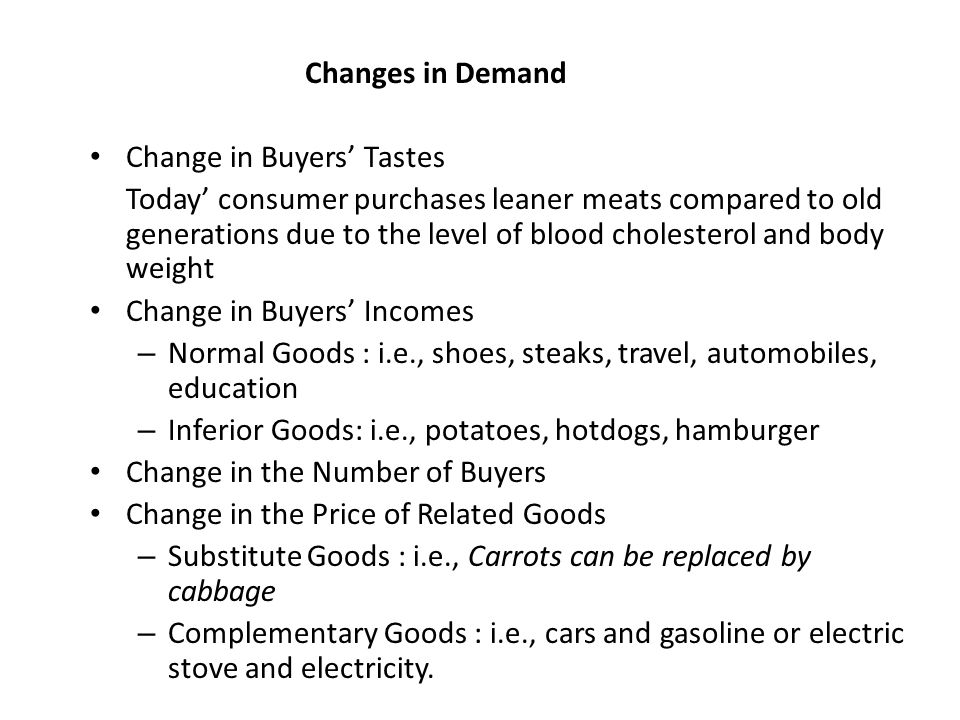 Changes in Demand Change in Buyers' Tastes.