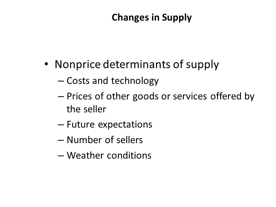 Nonprice determinants of supply