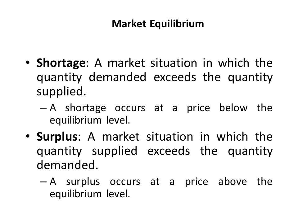 Market Equilibrium Shortage: A market situation in which the quantity demanded exceeds the quantity supplied.
