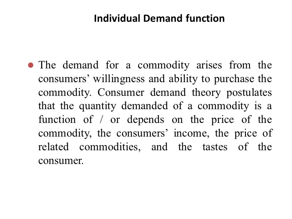 Individual Demand function
