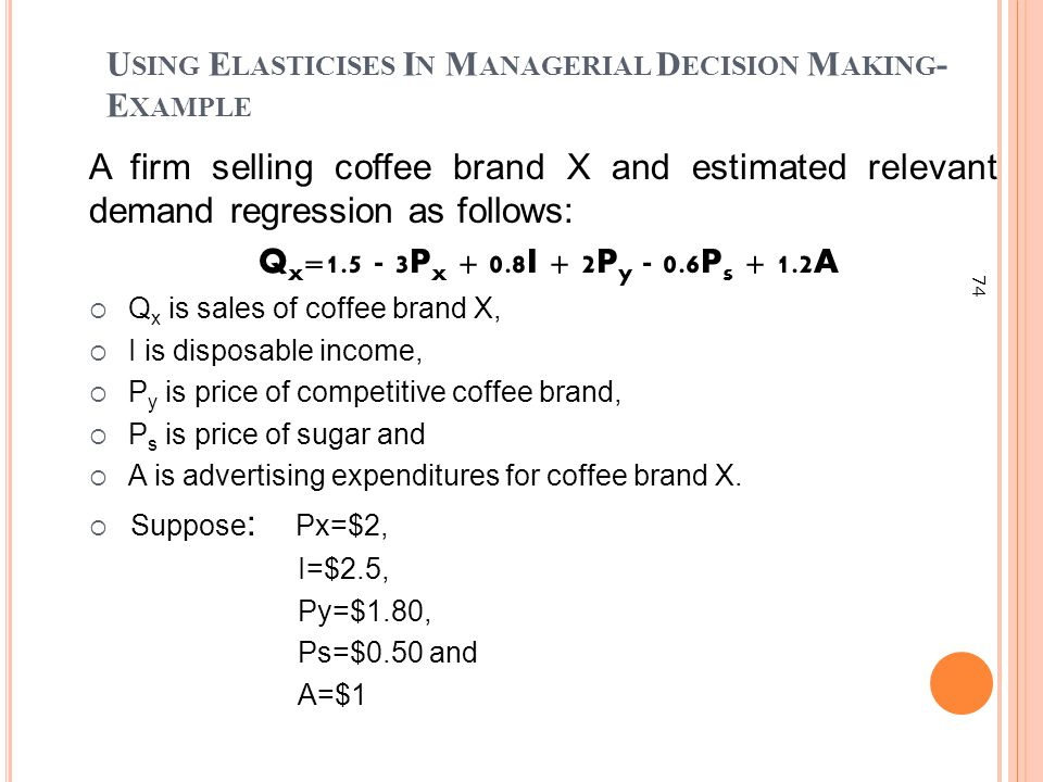 Using Elasticises In Managerial Decision Making-Example