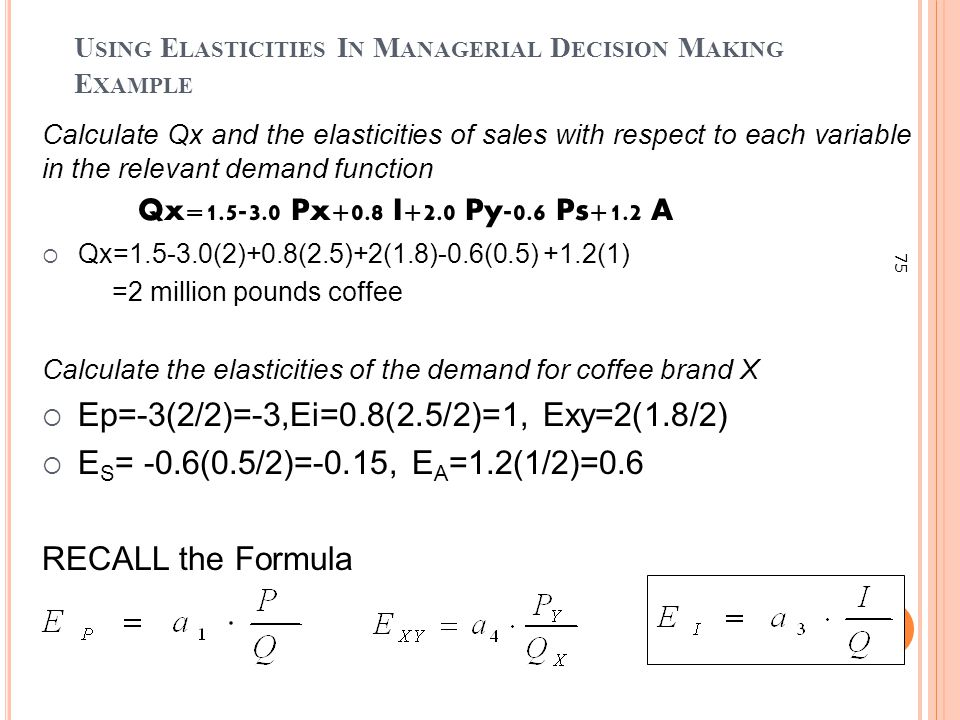 Using Elasticities In Managerial Decision Making Example