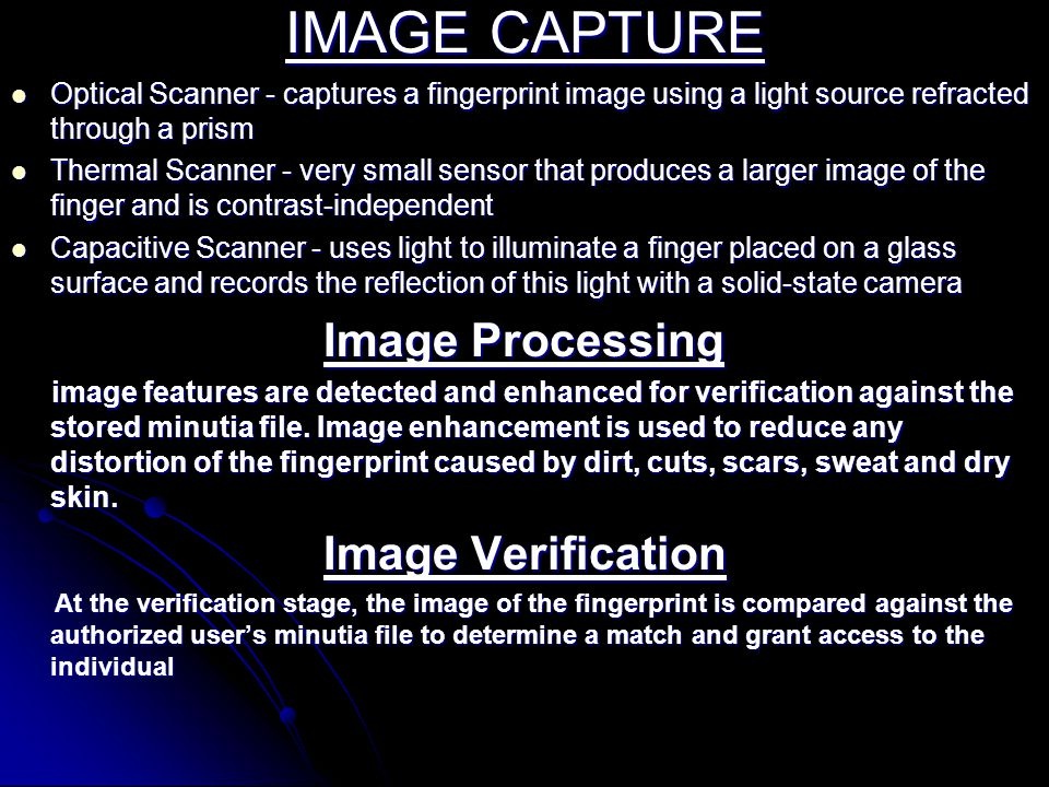 IMAGE CAPTURE Image Verification