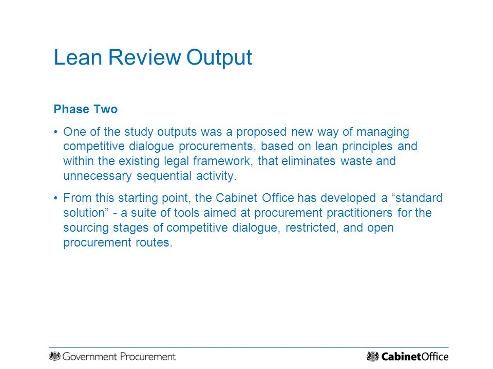 Lean Review Output Phase Two