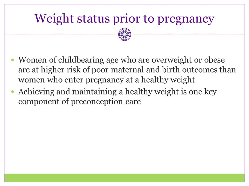 Weight status prior to pregnancy