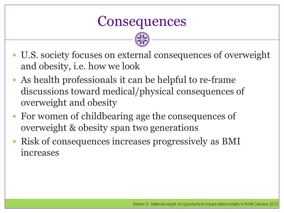 Consequences U.S. society focuses on external consequences of overweight and obesity, i.e. how we look.