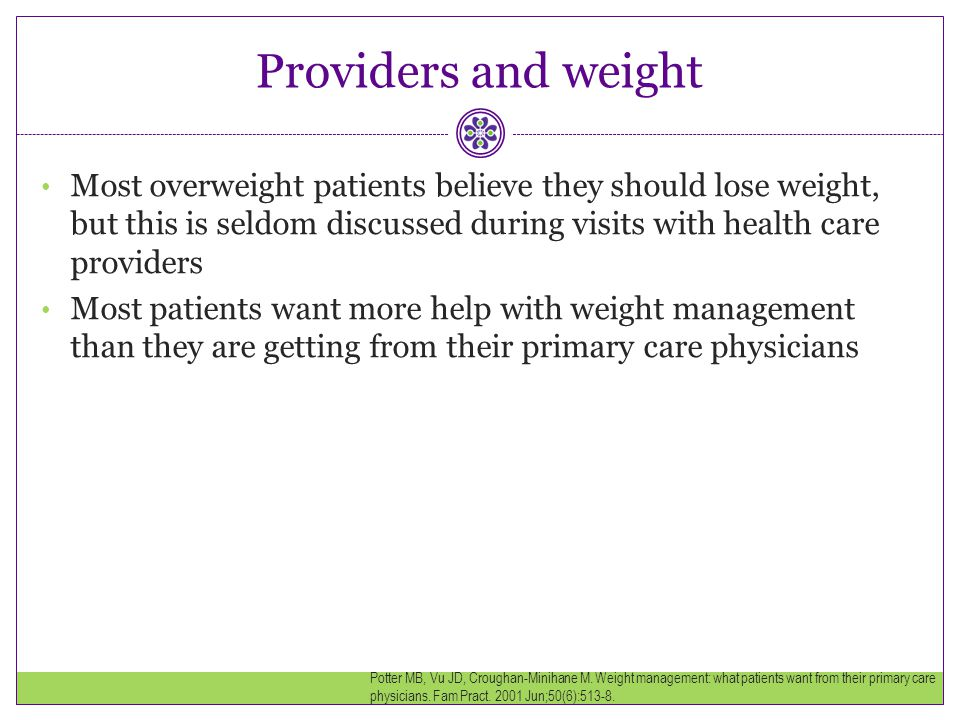 Providers and weight Most overweight patients believe they should lose weight, but this is seldom discussed during visits with health care providers.