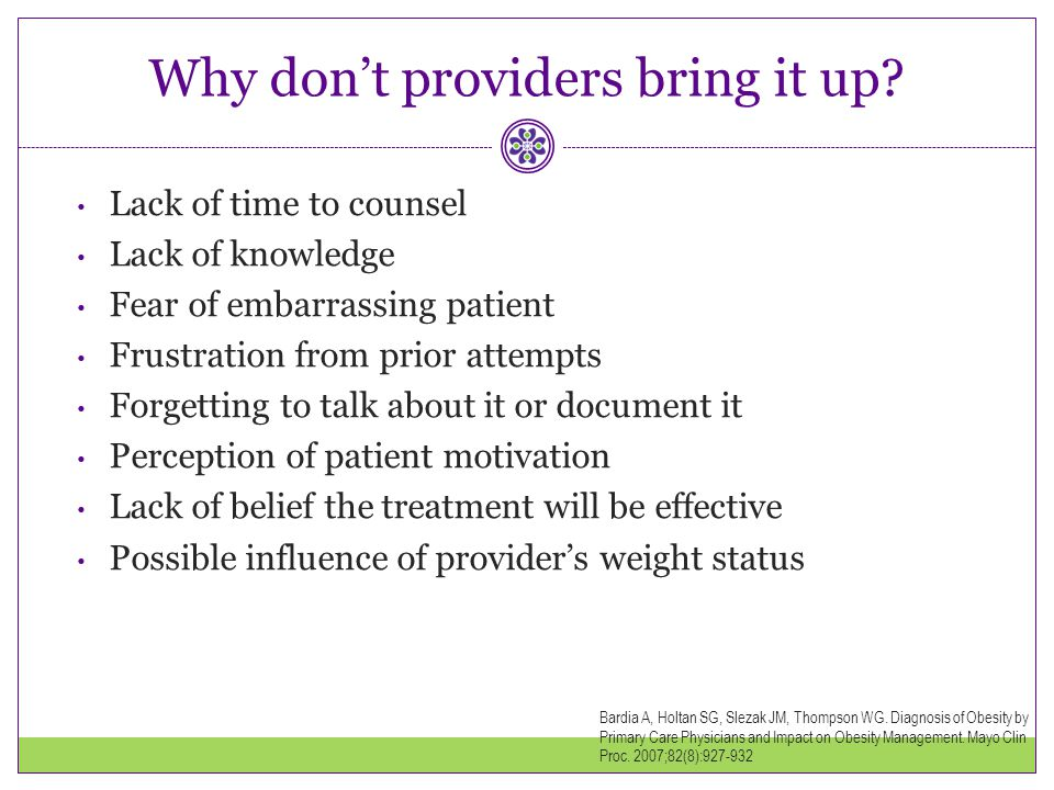 Why don't providers bring it up
