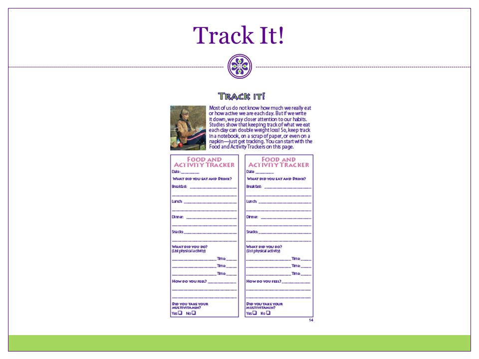 Track It! Direct participants to page 14 of the Healthy Habits booklet.