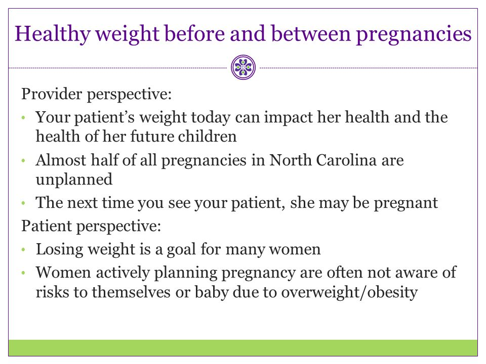 Healthy weight before and between pregnancies