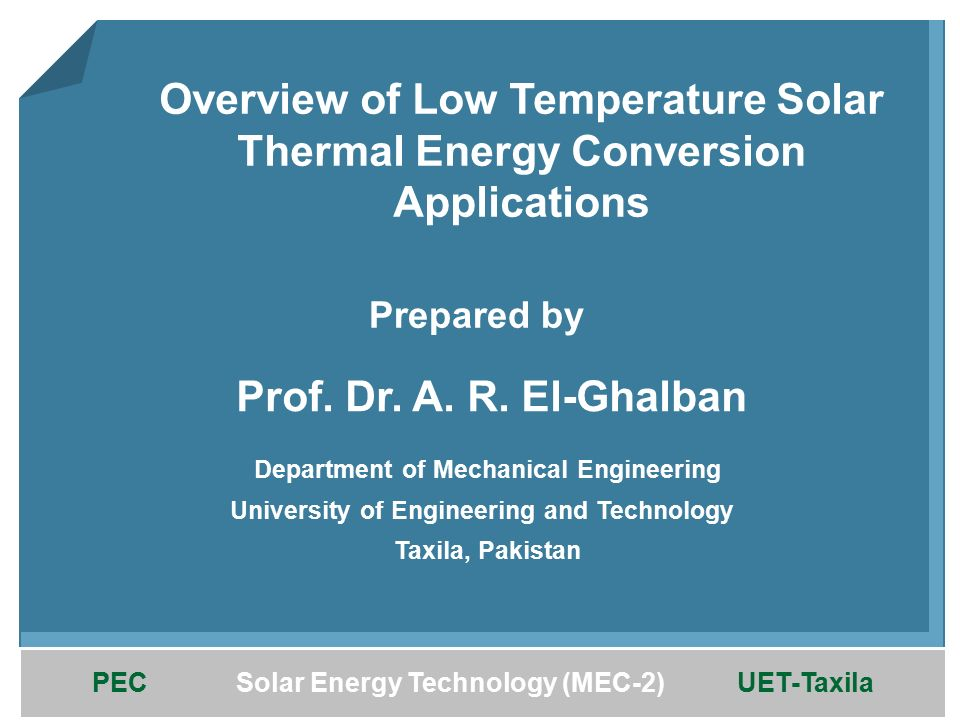 Prepared by Prof. Dr. A. R. El-Ghalban - ppt download