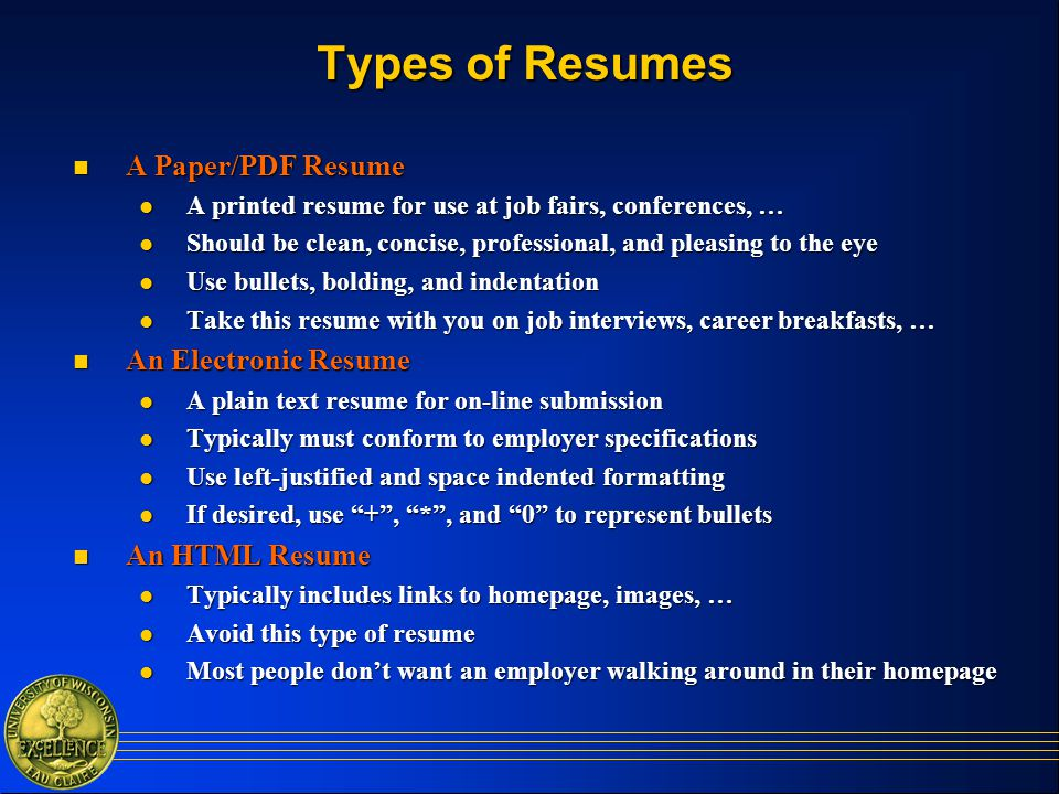 Types of resumes samples