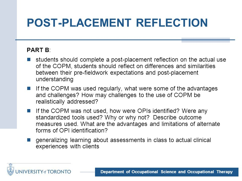 clinical placement reflection The importance of critical reflection is underscored with classroom theory being provided to students on models of critical reflection who are also expected to complete a critical reflection journal whilst on clinical placements.