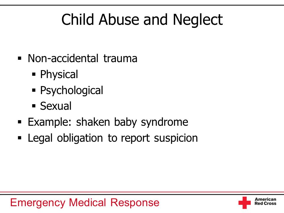 physical abuse is nonaccidental physical injury Physical child abuse is the non-accidental infliction of physical injury or harm of a child if you suspect that a child has or is being physically abused, or is at risk of physical abuse, you must respond by following: four critical actions for early childhood services these actions are best .