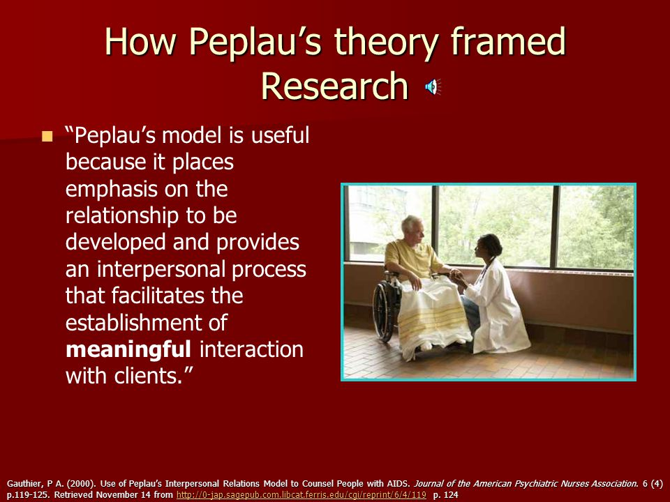 an overview of hildegard peplaus interpersonal relations theory and its significance in the nursing  Introduction the peplau interpersonal theory was advanced by hildegard peplau in 1948 as its proponent, she seeks to define the nurse-patient relationship she advocates for active participation of both parties in ensuring that the experience is more human.