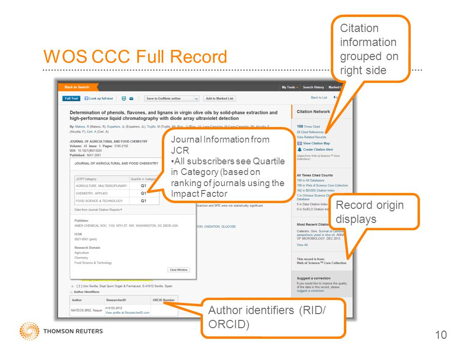WOS CCC Full Record Citation information grouped on right side