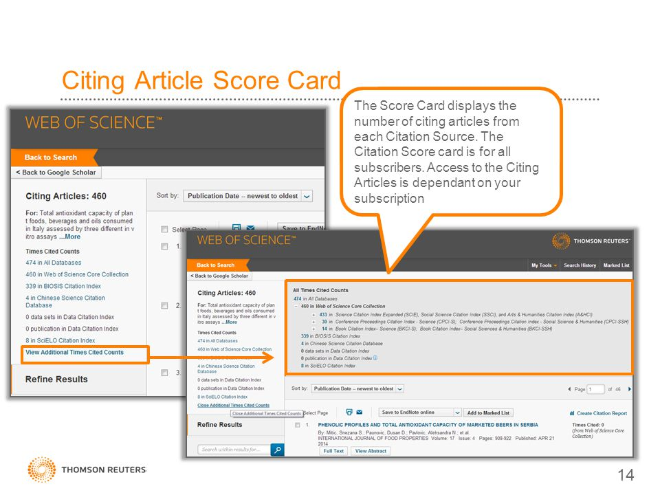 Citing Article Score Card