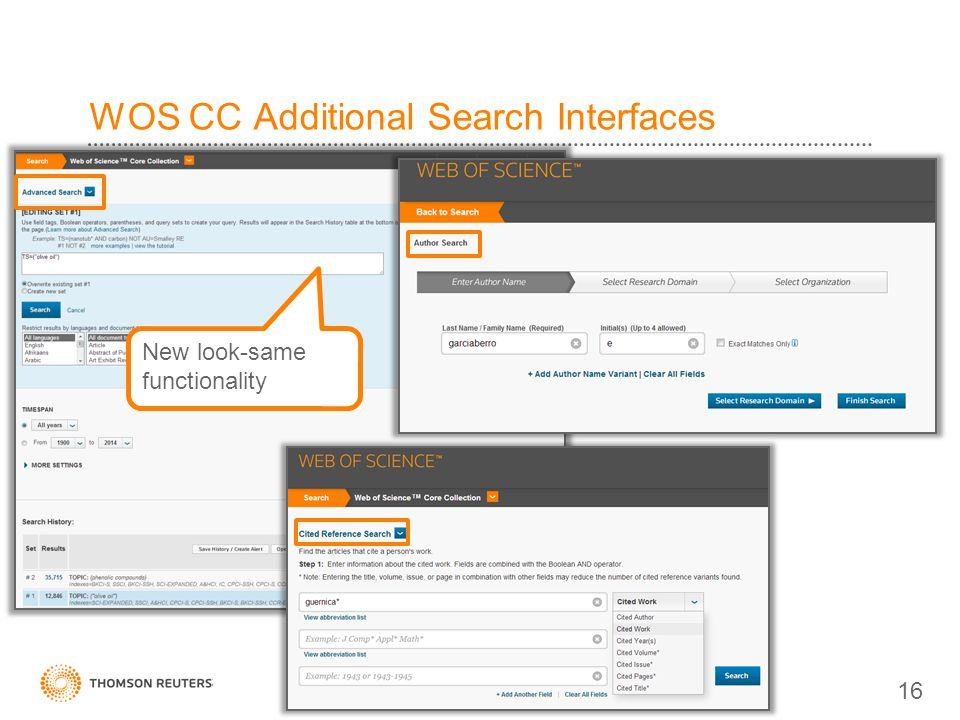 WOS CC Additional Search Interfaces