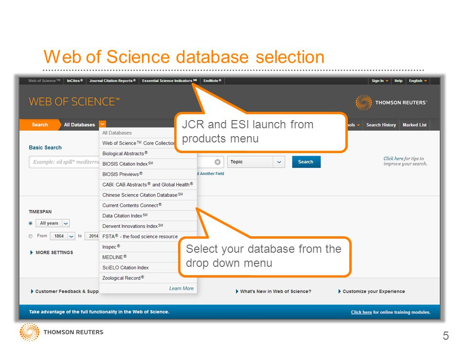Web of Science database selection