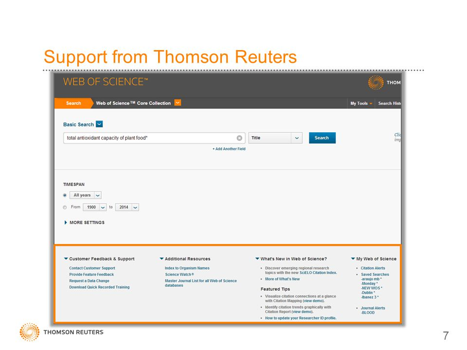 Support from Thomson Reuters