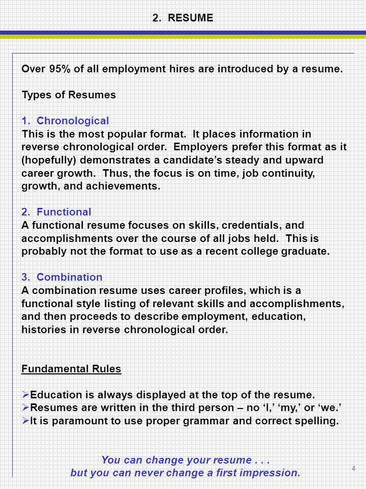 Over 95% Of All Employment Hires Are Introduced By A Resume.  Correct Spelling Of Resume