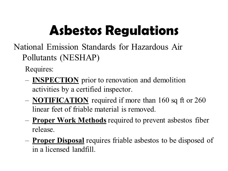Asbestos Fibers Table With Standards : Environmental health and safety ppt download