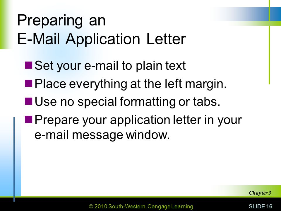 Preparing an  Application Letter