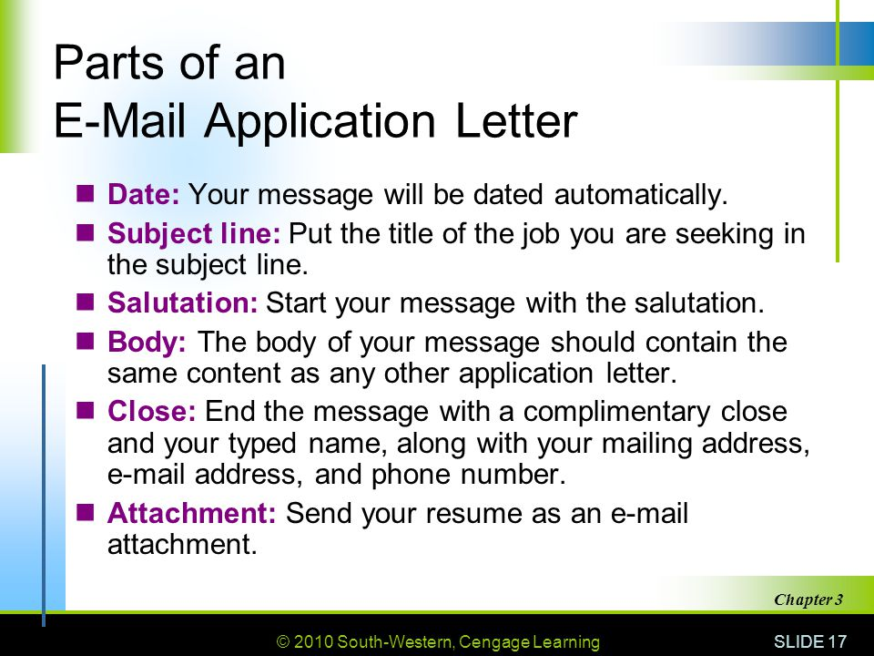 Parts of an  Application Letter