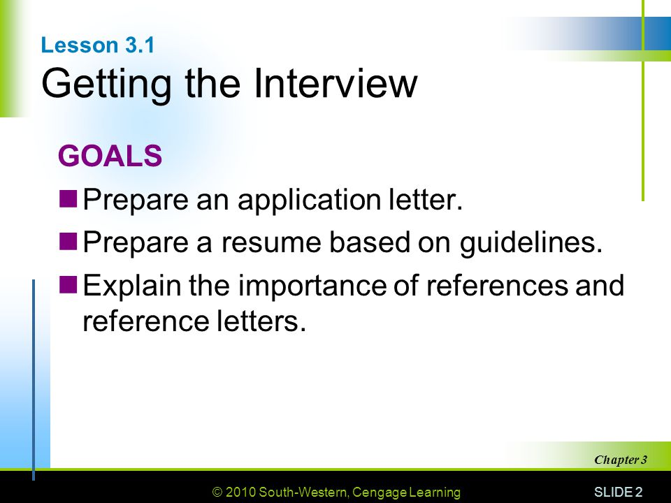 Lesson 3.1 Getting the Interview