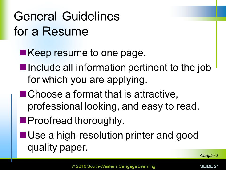 General Guidelines for a Resume