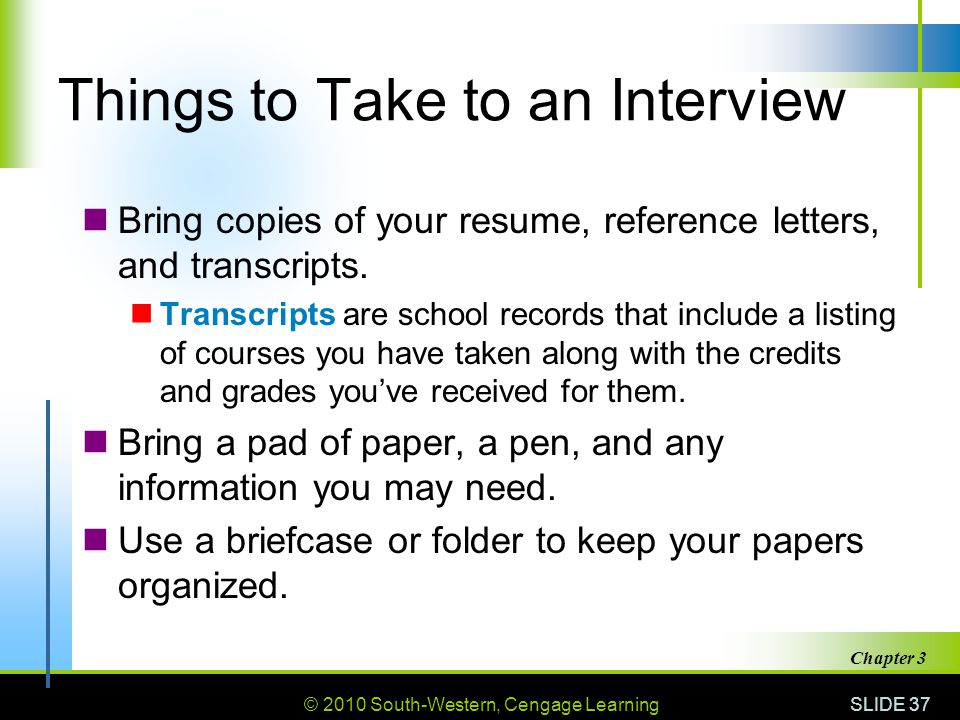 Things to Take to an Interview