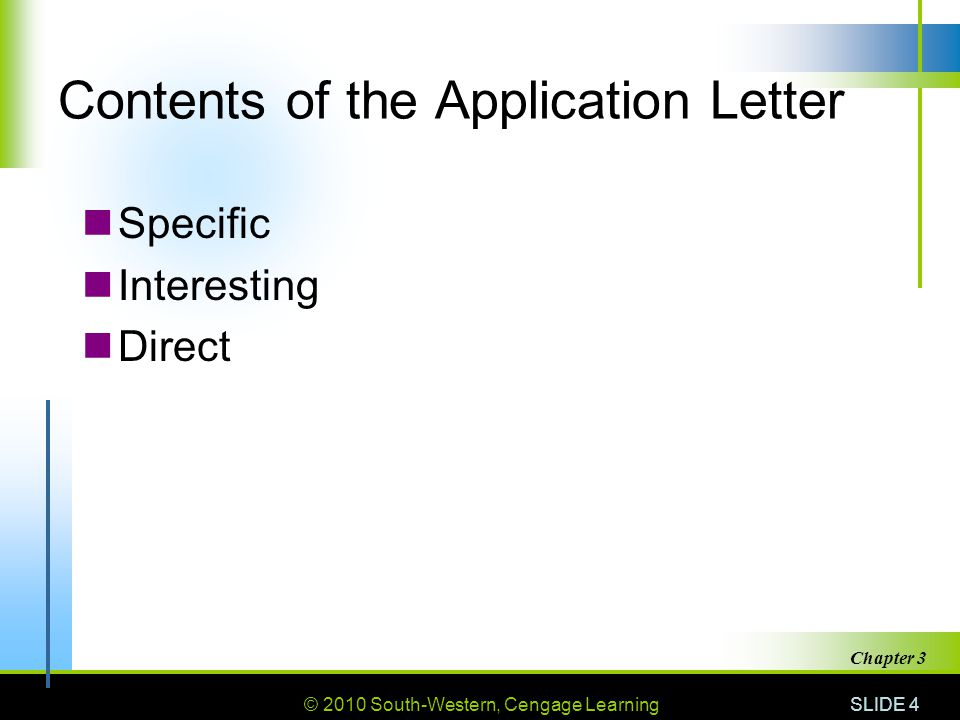 Contents of the Application Letter
