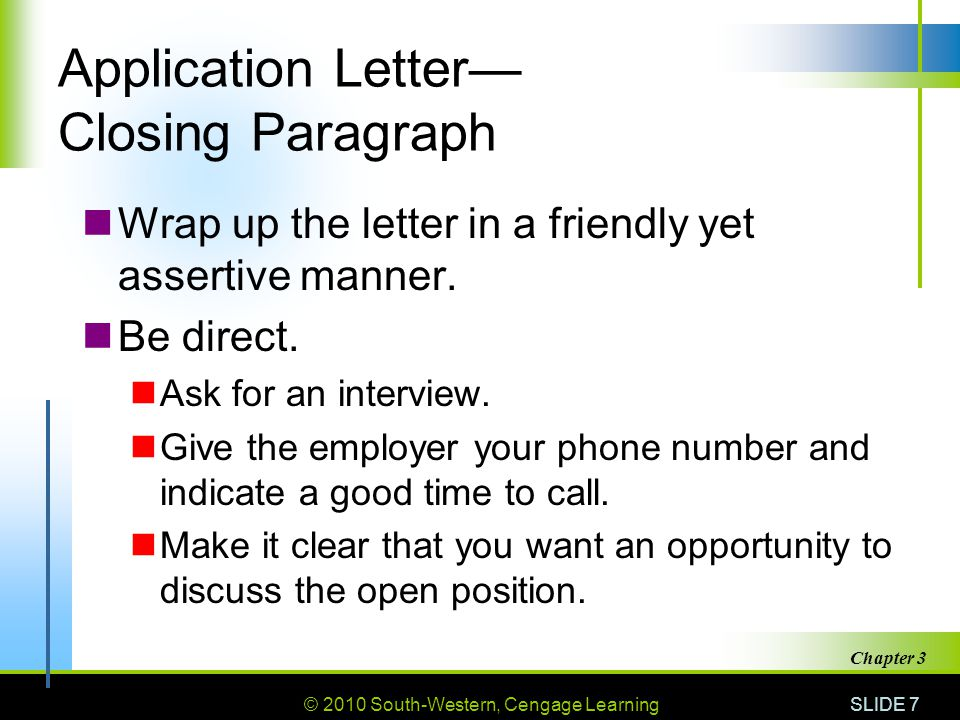 Application Letter— Closing Paragraph